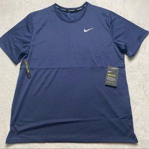 Nike Breathe Men Navy Reflective Mush Running Top